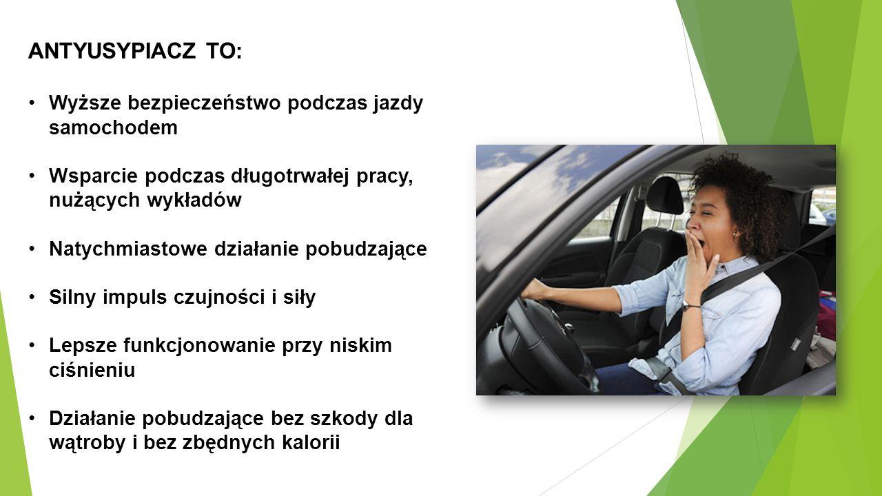 ANTYUSYPIACZ TO: Wyższe bezpieczeństwo podczas jazdy samochodem Wsparcie podczas długotrwałej pracy, nużących wykładów Natychmiastowe działanie pobudzające Silny impuls czujności i siły Lepsze funkcjonowanie przy niskim ciśnieniu Działanie pobudzające bez szkody dla wątroby i bez zbędnych kalorii