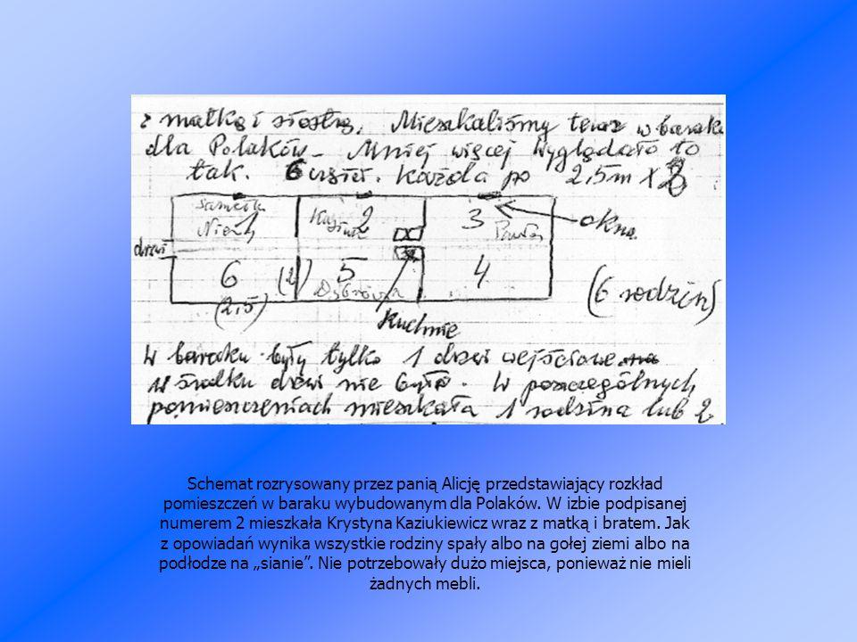 Schemat rozrysowany przez panią Alicję przedstawiający rozkład pomieszczeń w baraku wybudowanym dla Polaków.