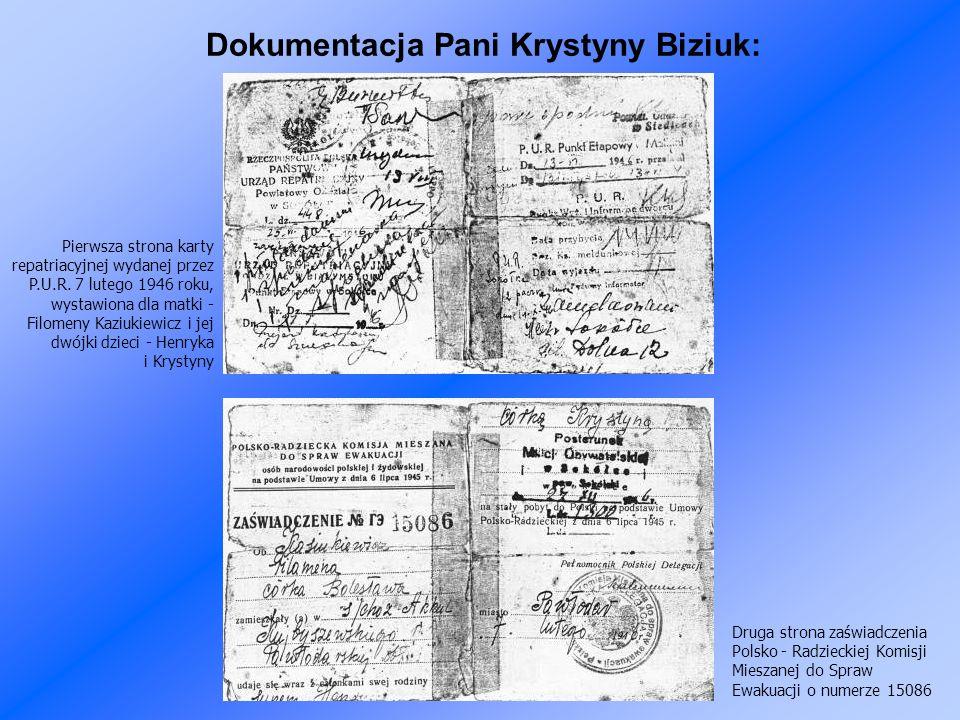 Dokumentacja Pani Krystyny Biziuk: Pierwsza strona karty repatriacyjnej wydanej przez P.U.R.