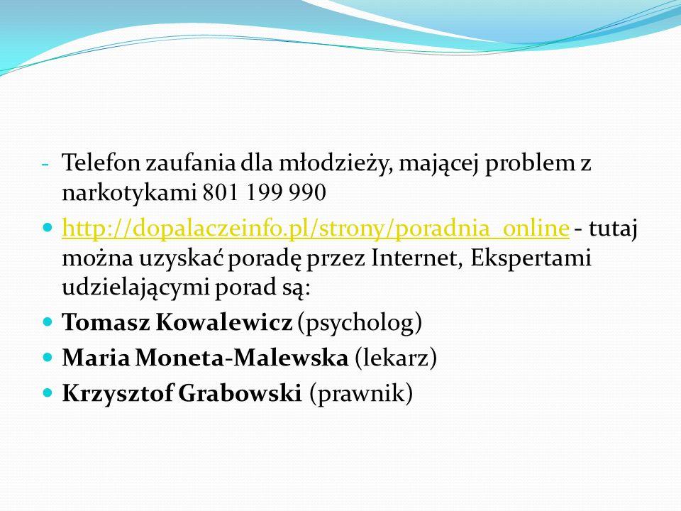 - Telefon zaufania dla młodzieży, mającej problem z narkotykami 801 199 990 http://dopalaczeinfo.pl/strony/poradnia_online - tutaj można uzyskać porad