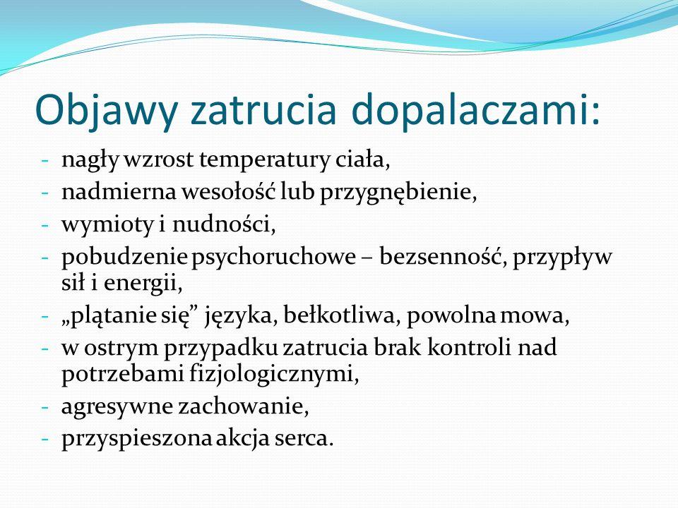 Objawy zatrucia dopalaczami: - nagły wzrost temperatury ciała, - nadmierna wesołość lub przygnębienie, - wymioty i nudności, - pobudzenie psychoruchow