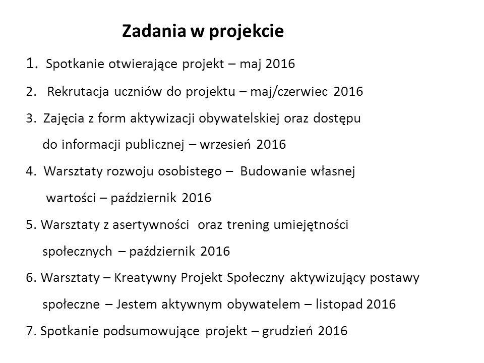 Zadania w projekcie 1. Spotkanie otwierające projekt – maj 2016 2. Rekrutacja uczniów do projektu – maj/czerwiec 2016 3. Zajęcia z form aktywizacji ob