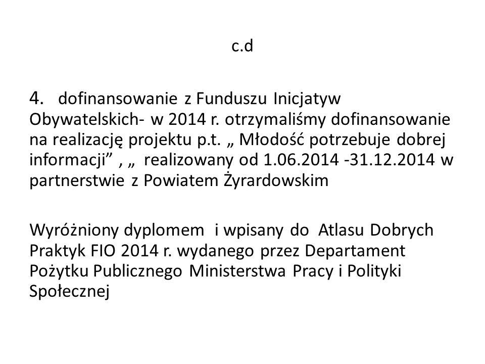 c.d 4.dofinansowanie z Funduszu Inicjatyw Obywatelskich- w 2014 r.