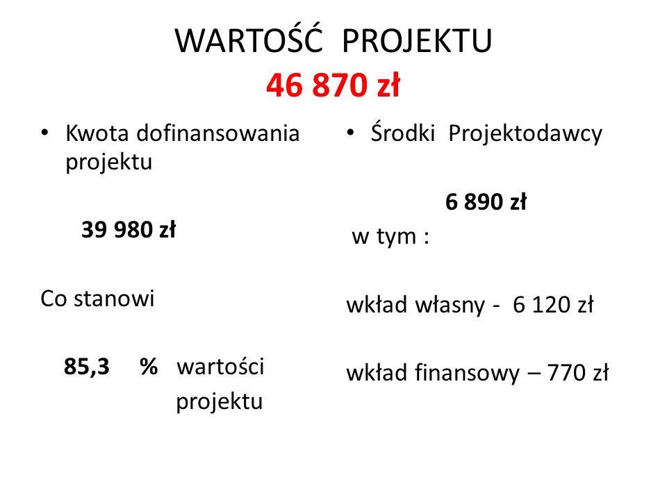 WARTOŚĆ PROJEKTU 46 870 zł Kwota dofinansowania projektu 39 980 zł Co stanowi 85,3 % wartości projektu Środki Projektodawcy 6 890 zł w tym : wkład własny - 6 120 zł wkład finansowy – 770 zł