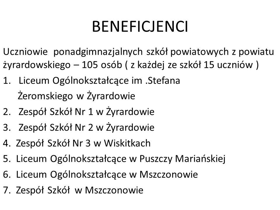 BENEFICJENCI Uczniowie ponadgimnazjalnych szkół powiatowych z powiatu żyrardowskiego – 105 osób ( z każdej ze szkół 15 uczniów ) 1.Liceum Ogólnokształ