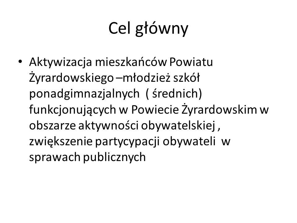 Cel główny Aktywizacja mieszkańców Powiatu Żyrardowskiego –młodzież szkół ponadgimnazjalnych ( średnich) funkcjonujących w Powiecie Żyrardowskim w obszarze aktywności obywatelskiej, zwiększenie partycypacji obywateli w sprawach publicznych