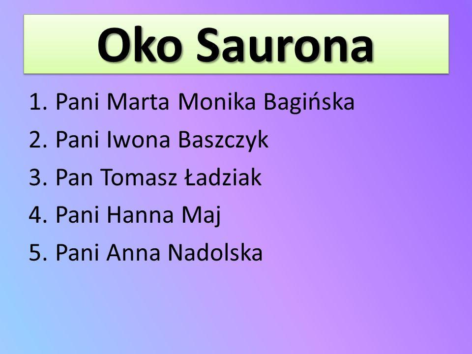 Oko Saurona 1.Pani Marta Monika Bagińska 2.Pani Iwona Baszczyk 3.Pan Tomasz Ładziak 4.Pani Hanna Maj 5.Pani Anna Nadolska