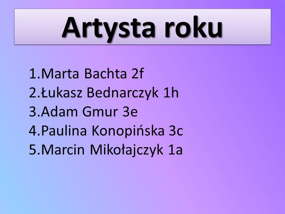 Artysta roku 1.Marta Bachta 2f 2.Łukasz Bednarczyk 1h 3.Adam Gmur 3e 4.Paulina Konopińska 3c 5.Marcin Mikołajczyk 1a