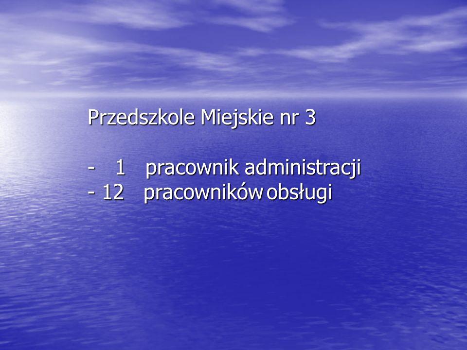Przedszkole Miejskie nr 3 - 1 pracownik administracji - 12 pracowników obsługi