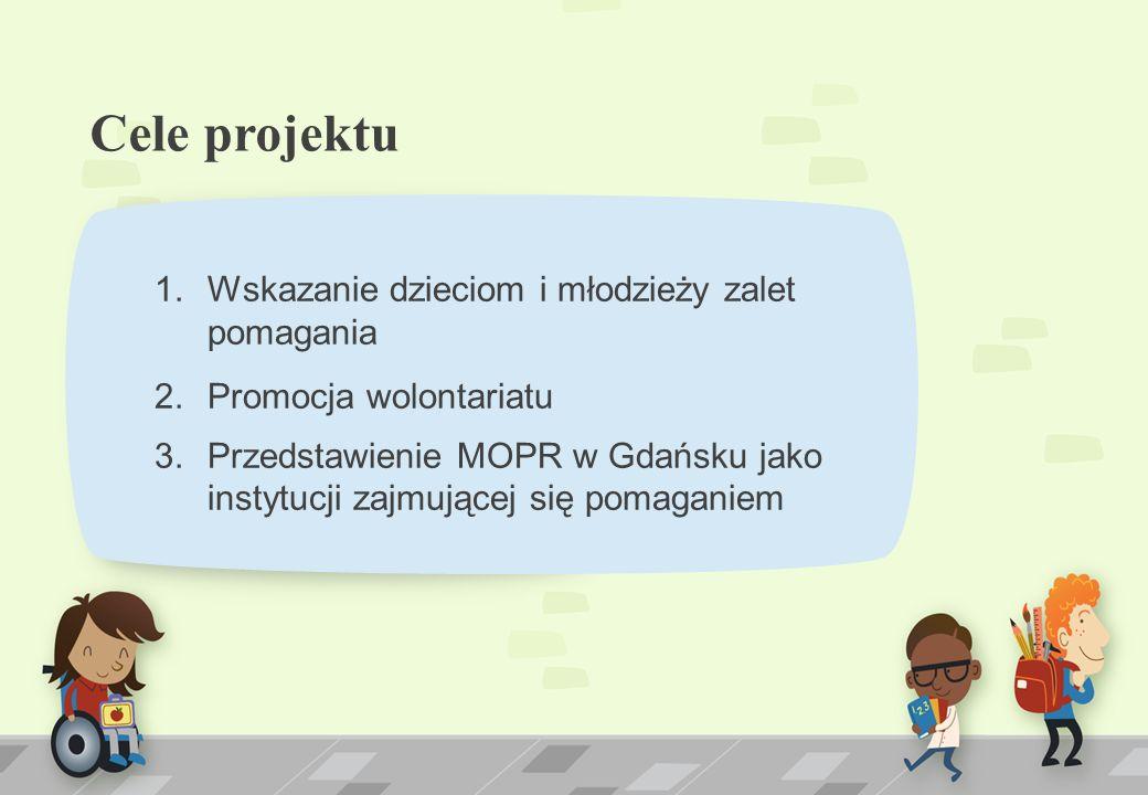 Cele projektu 1.Wskazanie dzieciom i młodzieży zalet pomagania 2.Promocja wolontariatu 3.Przedstawienie MOPR w Gdańsku jako instytucji zajmującej się