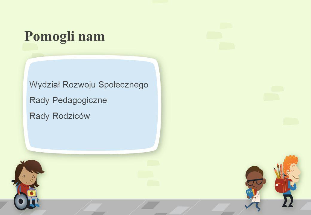 Pomogli nam Wydział Rozwoju Społecznego Rady Pedagogiczne Rady Rodziców