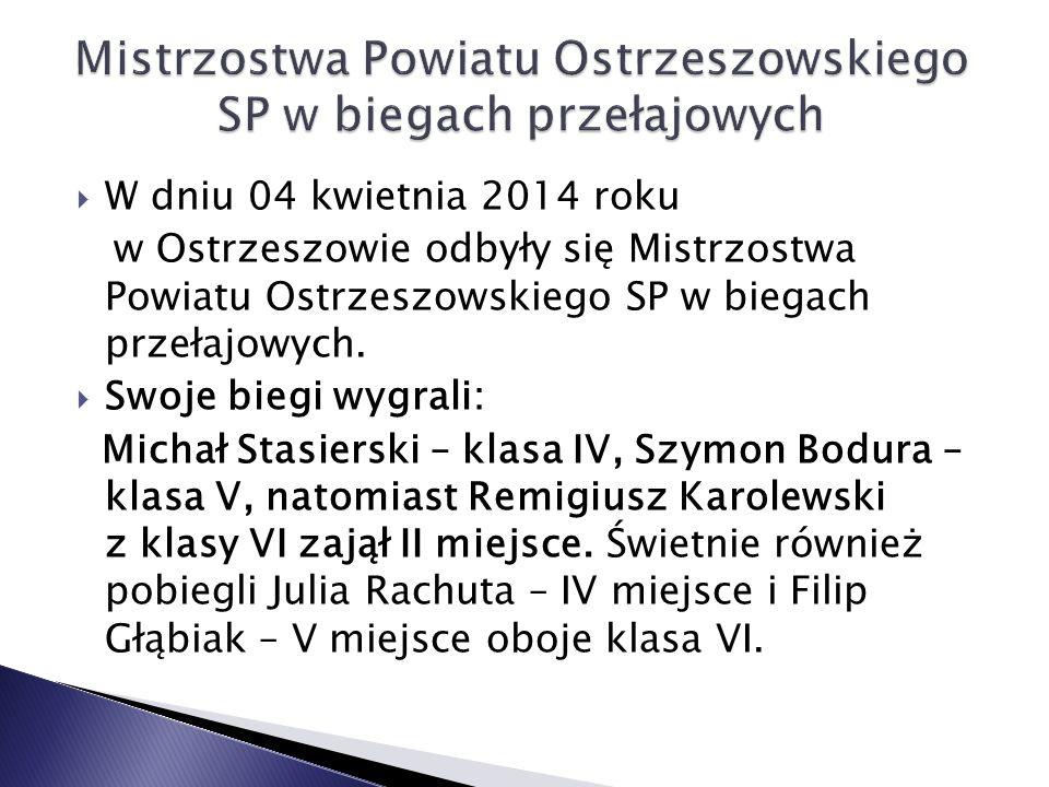  W dniu 04 kwietnia 2014 roku w Ostrzeszowie odbyły się Mistrzostwa Powiatu Ostrzeszowskiego SP w biegach przełajowych.