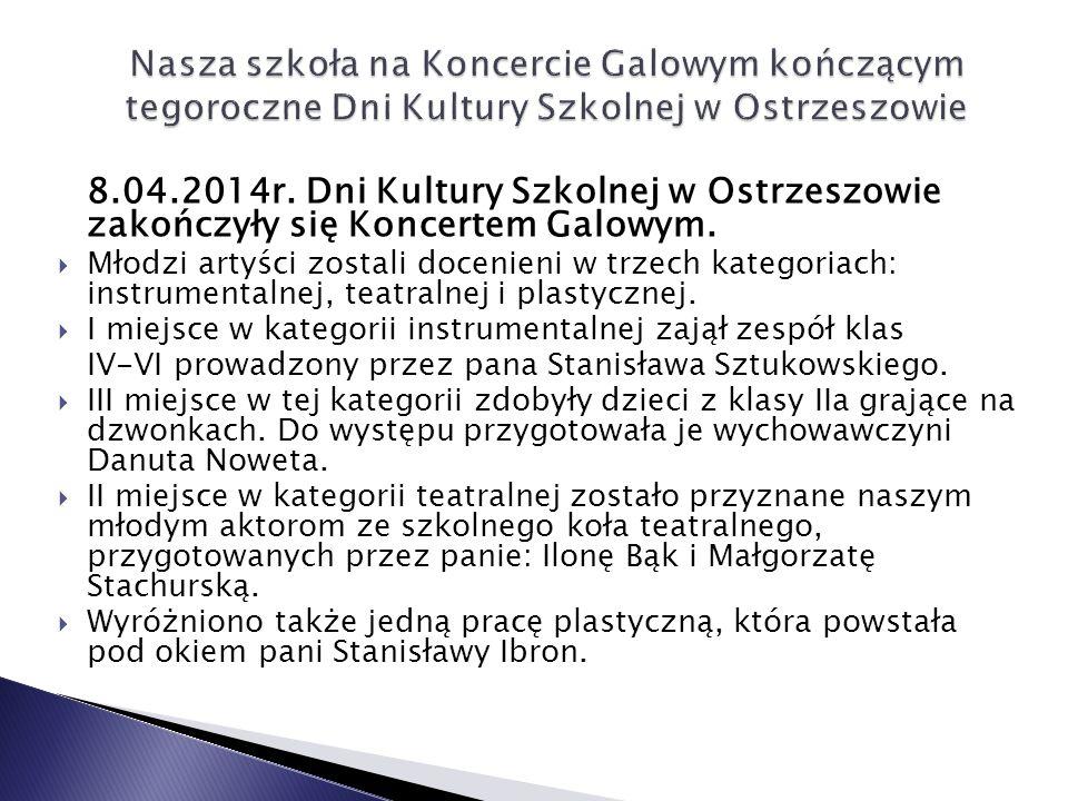 8.04.2014r.Dni Kultury Szkolnej w Ostrzeszowie zakończyły się Koncertem Galowym.