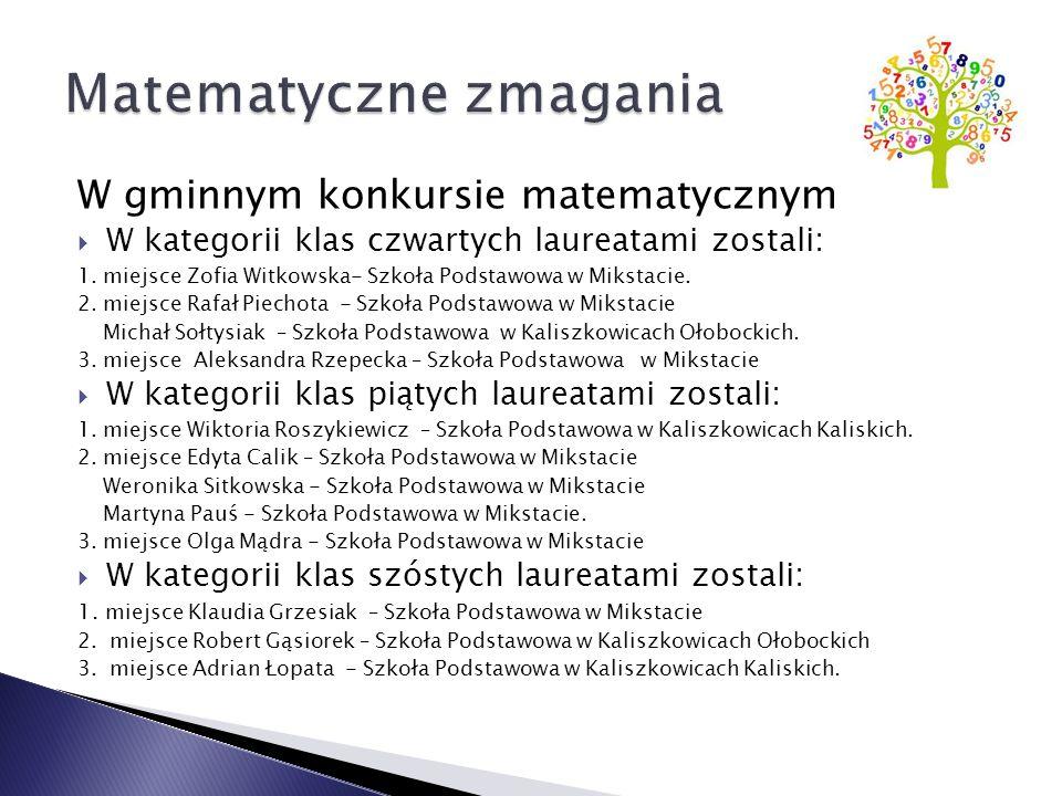 W gminnym konkursie matematycznym  W kategorii klas czwartych laureatami zostali: 1.