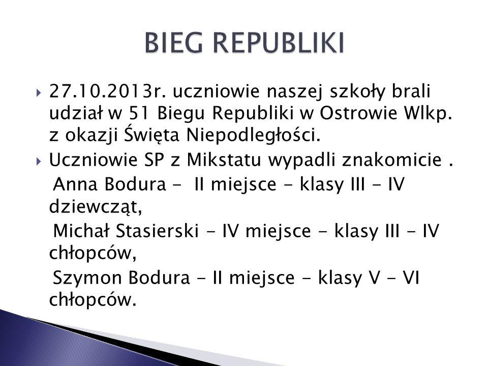  27.10.2013r.uczniowie naszej szkoły brali udział w 51 Biegu Republiki w Ostrowie Wlkp.