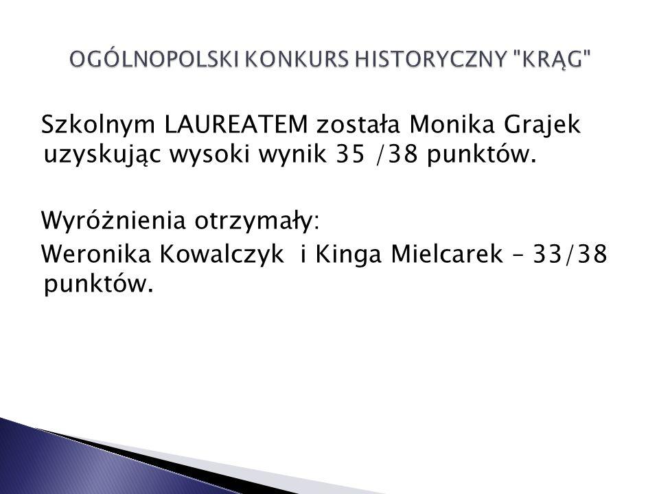 Szkolnym LAUREATEM została Monika Grajek uzyskując wysoki wynik 35 /38 punktów.