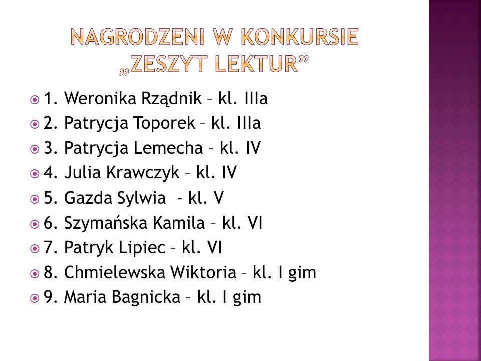  1. Weronika Rządnik – kl. IIIa  2. Patrycja Toporek – kl. IIIa  3. Patrycja Lemecha – kl. IV  4. Julia Krawczyk – kl. IV  5. Gazda Sylwia - kl.