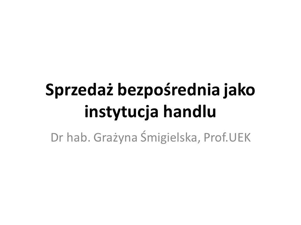 Sprzedaż bezpośrednia jako instytucja handlu Dr hab. Grażyna Śmigielska, Prof.UEK