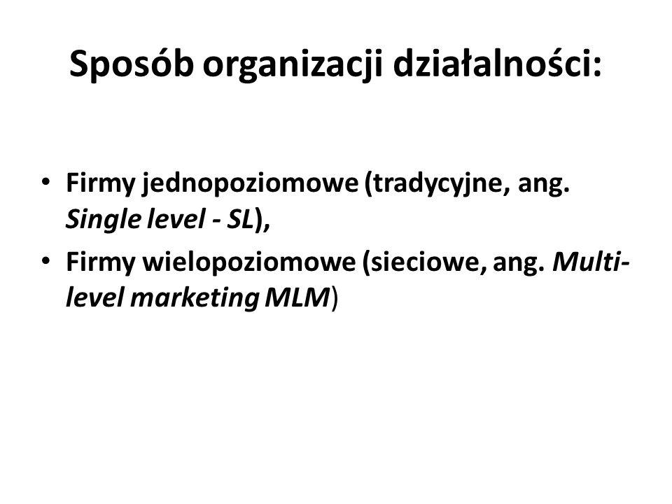 Sposób organizacji działalności: Firmy jednopoziomowe (tradycyjne, ang. Single level - SL), Firmy wielopoziomowe (sieciowe, ang. Multi- level marketin