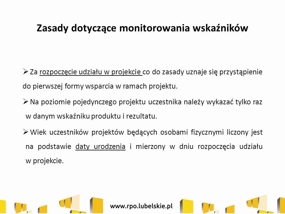 Zasady dotyczące monitorowania wskaźników  Za rozpoczęcie udziału w projekcie co do zasady uznaje się przystąpienie do pierwszej formy wsparcia w ram