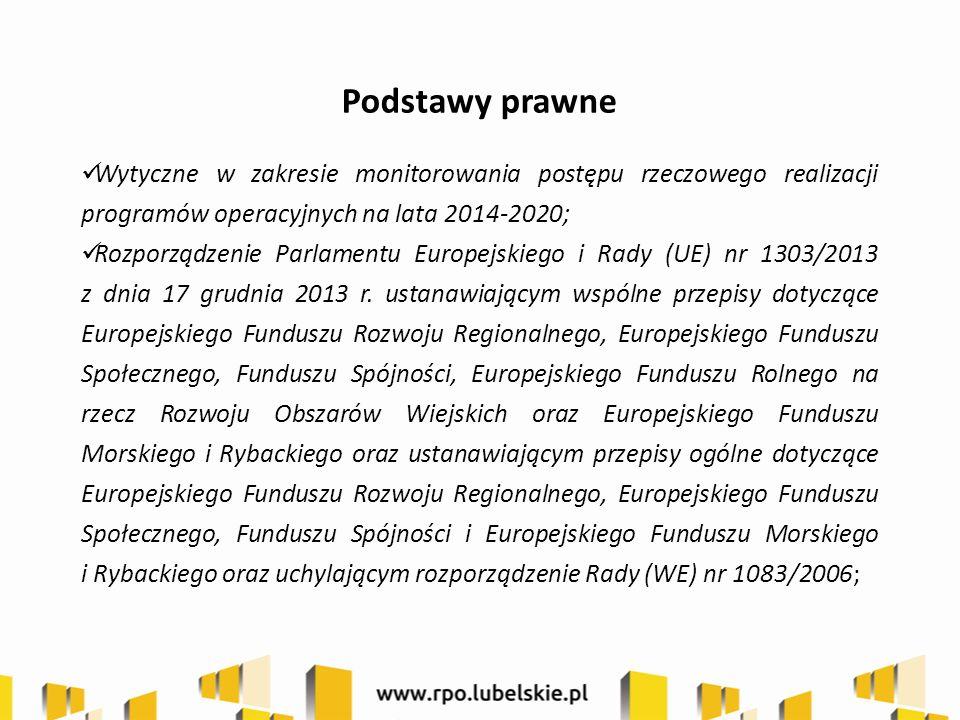 Podstawy prawne Wytyczne w zakresie monitorowania postępu rzeczowego realizacji programów operacyjnych na lata 2014-2020; Rozporządzenie Parlamentu Eu
