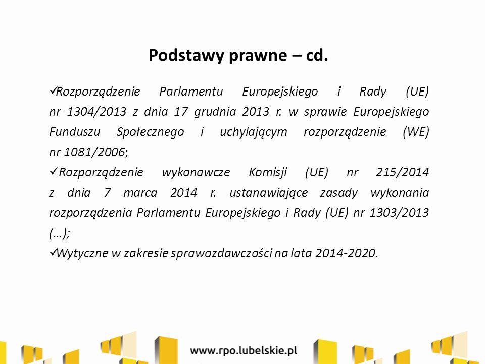 Podstawy prawne – cd. Rozporządzenie Parlamentu Europejskiego i Rady (UE) nr 1304/2013 z dnia 17 grudnia 2013 r. w sprawie Europejskiego Funduszu Społ