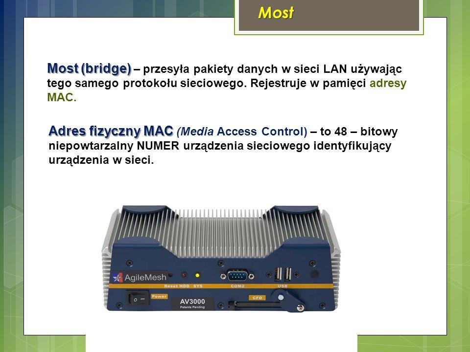 Most Most (bridge) Most (bridge) – przesyła pakiety danych w sieci LAN używając tego samego protokołu sieciowego.