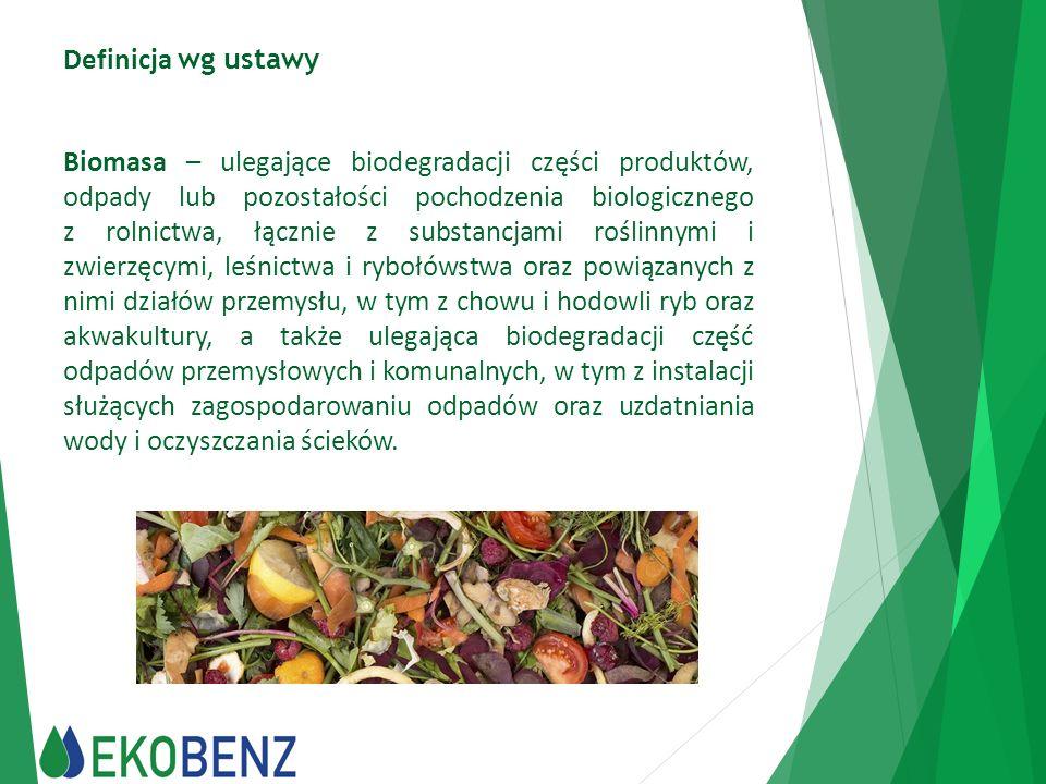 Definicja wg ustawy Biomasa – ulegające biodegradacji części produktów, odpady lub pozostałości pochodzenia biologicznego z rolnictwa, łącznie z subst