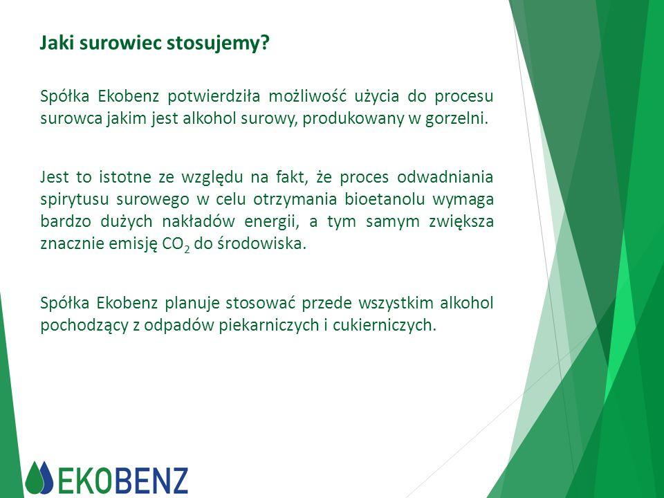 Jaki surowiec stosujemy? Spółka Ekobenz potwierdziła możliwość użycia do procesu surowca jakim jest alkohol surowy, produkowany w gorzelni. Jest to is