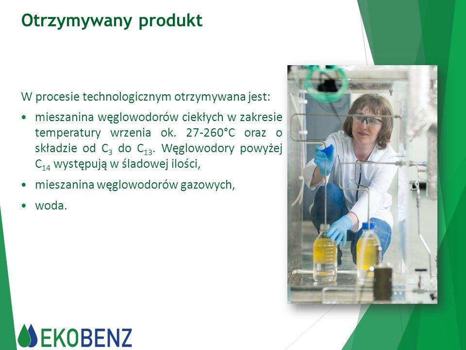 Otrzymywany produkt W procesie technologicznym otrzymywana jest: mieszanina węglowodorów ciekłych w zakresie temperatury wrzenia ok. 27-260°C oraz o s
