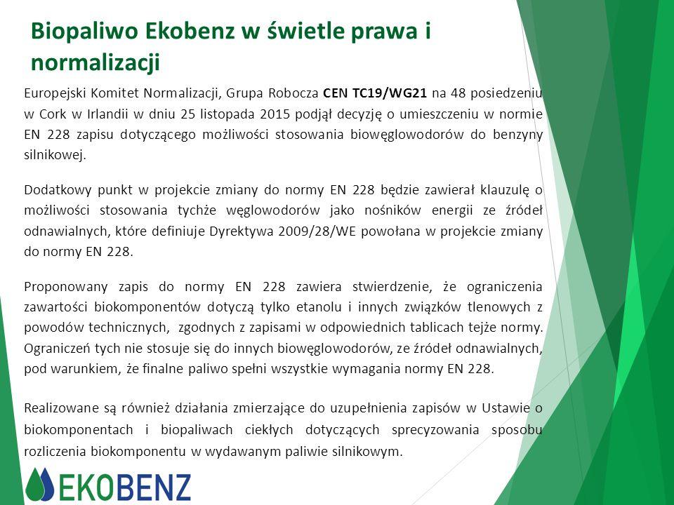 Biopaliwo Ekobenz w świetle prawa i normalizacji Europejski Komitet Normalizacji, Grupa Robocza CEN TC19/WG21 na 48 posiedzeniu w Cork w Irlandii w dn