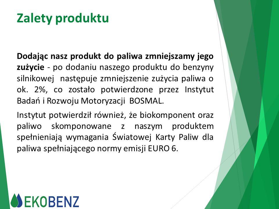 Zalety produktu Dodając nasz produkt do paliwa zmniejszamy jego zużycie - po dodaniu naszego produktu do benzyny silnikowej następuje zmniejszenie zuż