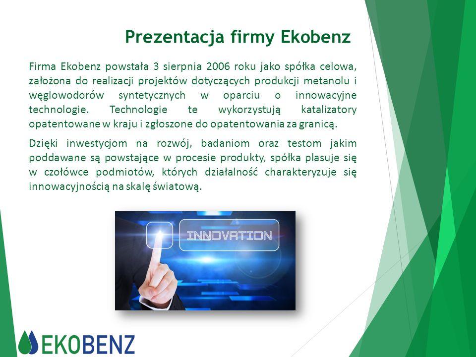 Właściwości fizykochemiczne biokomponentu Zgodnie z Ekspertyzą wydaną przez Instytut Nafty i Gazu w Krakowie, proponowanym kodem dla produktu wytwarzanego w Spółce Ekobenz jest kod CN 2710 12 41 Benzyna silnikowa, pozostałe z zawartością ołowiu nieprzekraczającą 0,013g/l o liczbie oktanowej (RON) mniejszej od 95.
