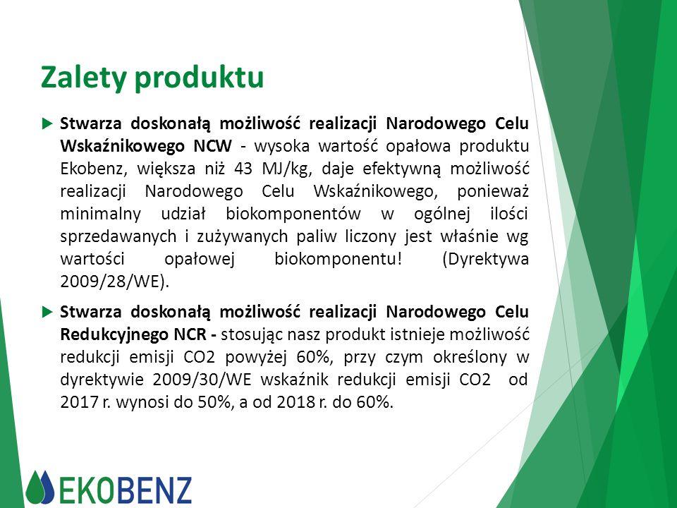 Zalety produktu  Stwarza doskonałą możliwość realizacji Narodowego Celu Wskaźnikowego NCW - wysoka wartość opałowa produktu Ekobenz, większa niż 43 M