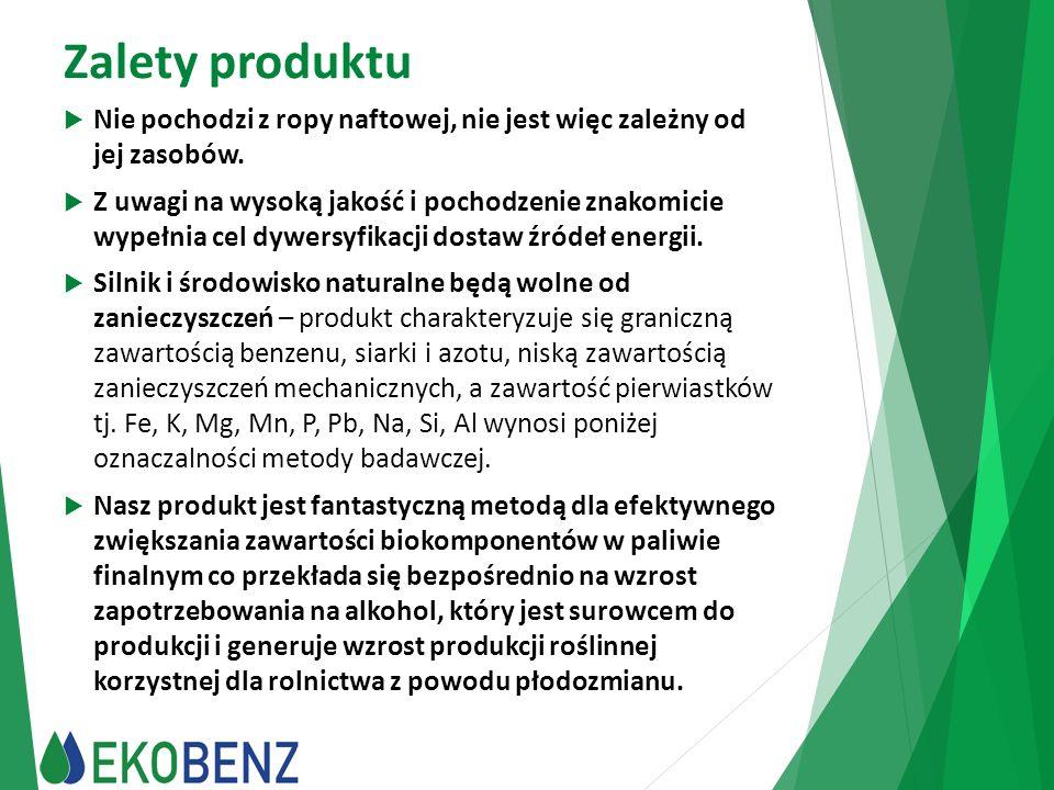 Zalety produktu  Nie pochodzi z ropy naftowej, nie jest więc zależny od jej zasobów.  Z uwagi na wysoką jakość i pochodzenie znakomicie wypełnia cel