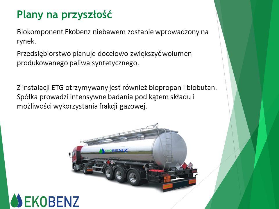 Plany na przyszłość Biokomponent Ekobenz niebawem zostanie wprowadzony na rynek. Przedsiębiorstwo planuje docelowo zwiększyć wolumen produkowanego pal