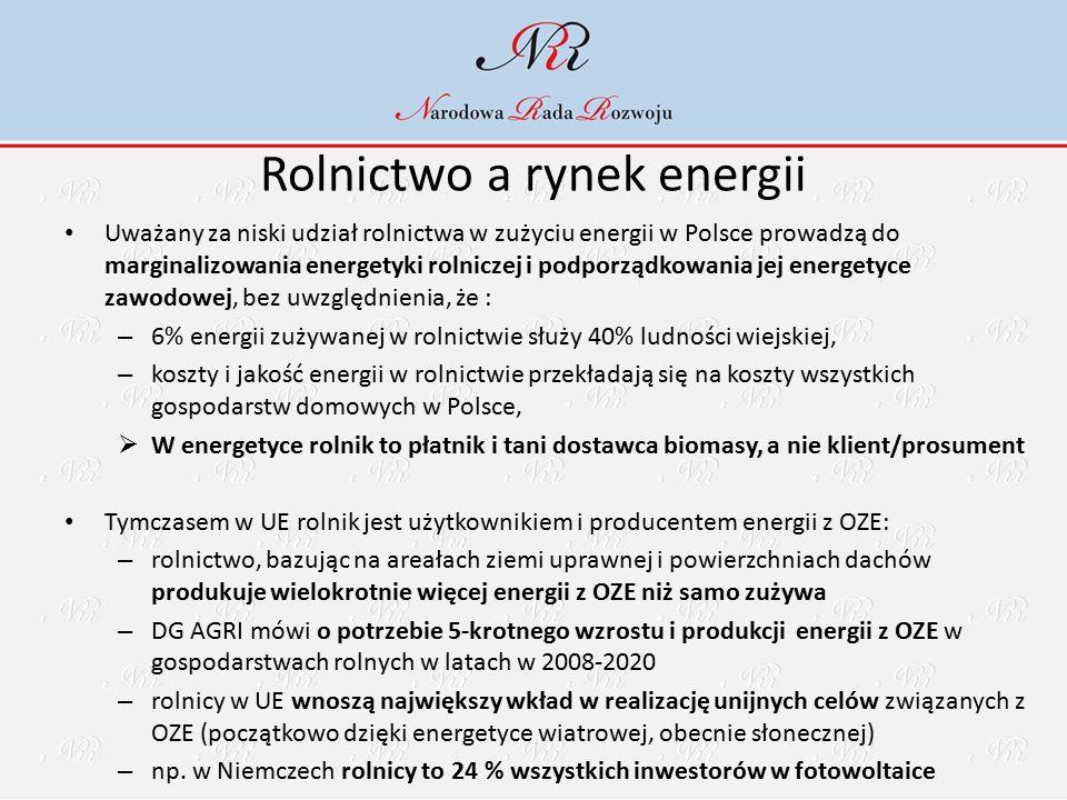 Rolnictwo a rynek energii Uważany za niski udział rolnictwa w zużyciu energii w Polsce prowadzą do marginalizowania energetyki rolniczej i podporządkowania jej energetyce zawodowej, bez uwzględnienia, że : – 6% energii zużywanej w rolnictwie służy 40% ludności wiejskiej, – koszty i jakość energii w rolnictwie przekładają się na koszty wszystkich gospodarstw domowych w Polsce,  W energetyce rolnik to płatnik i tani dostawca biomasy, a nie klient/prosument Tymczasem w UE rolnik jest użytkownikiem i producentem energii z OZE: – rolnictwo, bazując na areałach ziemi uprawnej i powierzchniach dachów produkuje wielokrotnie więcej energii z OZE niż samo zużywa – DG AGRI mówi o potrzebie 5-krotnego wzrostu i produkcji energii z OZE w gospodarstwach rolnych w latach w 2008-2020 – rolnicy w UE wnoszą największy wkład w realizację unijnych celów związanych z OZE (początkowo dzięki energetyce wiatrowej, obecnie słonecznej) – np.