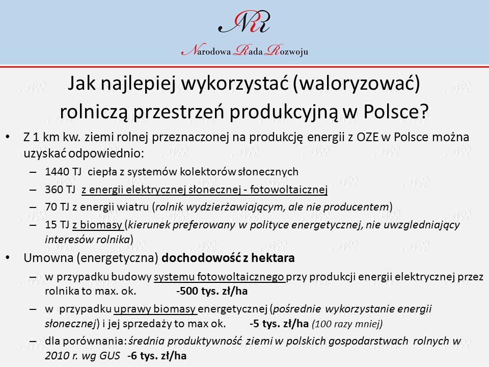 Jak najlepiej wykorzystać (waloryzować) rolniczą przestrzeń produkcyjną w Polsce? Z 1 km kw. ziemi rolnej przeznaczonej na produkcję energii z OZE w P