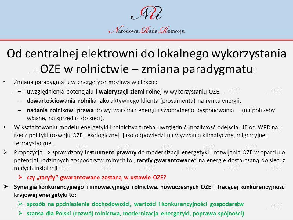 Od centralnej elektrowni do lokalnego wykorzystania OZE w rolnictwie – zmiana paradygmatu Zmiana paradygmatu w energetyce możliwa w efekcie: – uwzględnienia potencjału i waloryzacji ziemi rolnej w wykorzystaniu OZE, – dowartościowania rolnika jako aktywnego klienta (prosumenta) na rynku energii, – nadania rolnikowi prawa do wytwarzania energii i swobodnego dysponowania (na potrzeby własne, na sprzedaż do sieci).