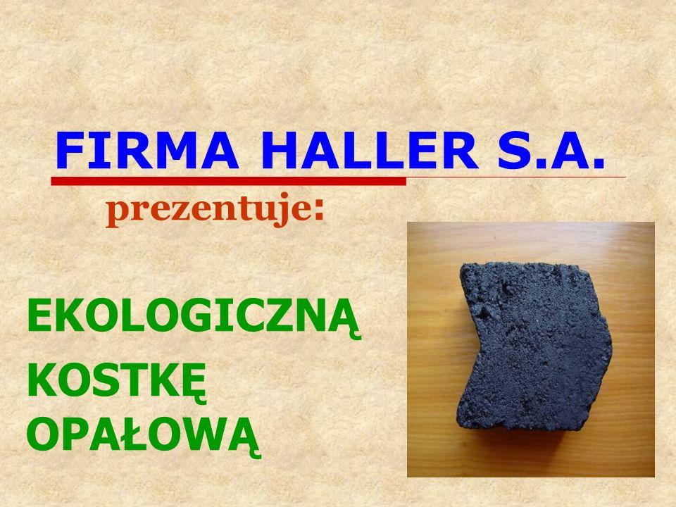 FIRMA HALLER S.A. prezentuje : EKOLOGICZNĄ KOSTKĘ OPAŁOWĄ