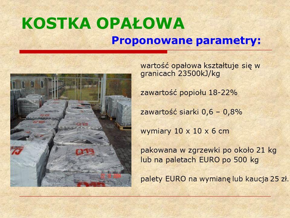 KOSTKA OPAŁOWA Proponowane parametry: wartość opałowa kształtuje się w granicach 23500kJ/kg zawartość popiołu 18-22% zawartość siarki 0,6 – 0,8% wymiary 10 x 10 x 6 cm pakowana w zgrzewki po około 21 kg lub na paletach EURO po 500 kg palety EURO na wymianę lub kaucja 25 zł.
