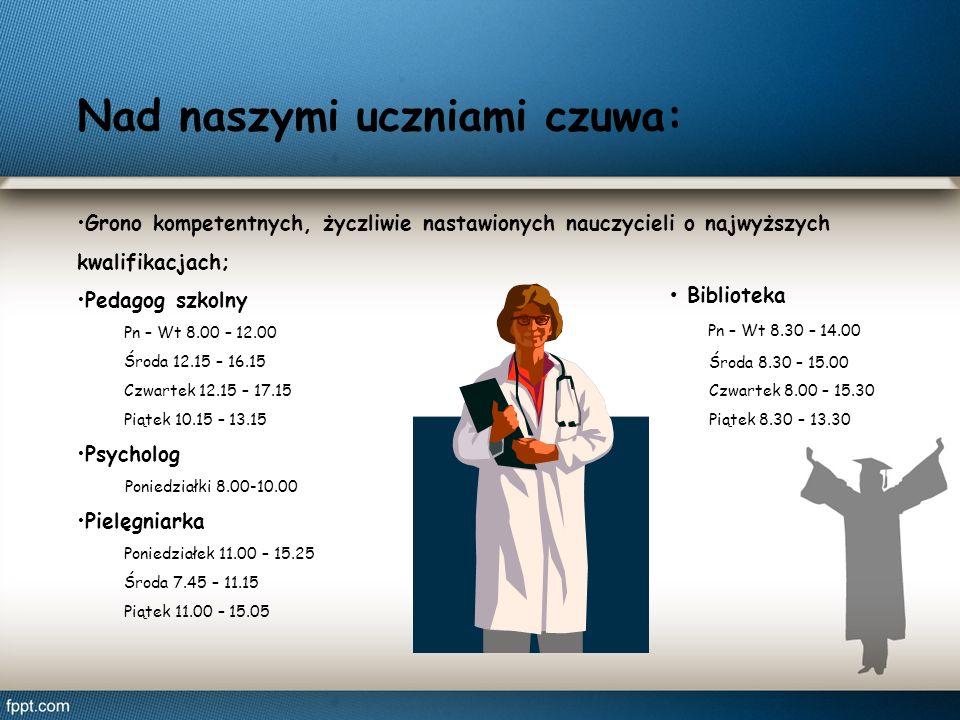 Nad naszymi uczniami czuwa: Grono kompetentnych, życzliwie nastawionych nauczycieli o najwyższych kwalifikacjach; Pedagog szkolny Pn – Wt 8.00 – 12.00 Środa 12.15 – 16.15 Czwartek 12.15 – 17.15 Piątek 10.15 – 13.15 Psycholog Poniedziałki 8.00-10.00 Pielęgniarka Poniedziałek 11.00 – 15.25 Środa 7.45 – 11.15 Piątek 11.00 – 15.05 Biblioteka Pn – Wt 8.30 – 14.00 Środa 8.30 – 15.00 Czwartek 8.00 – 15.30 Piątek 8.30 – 13.30