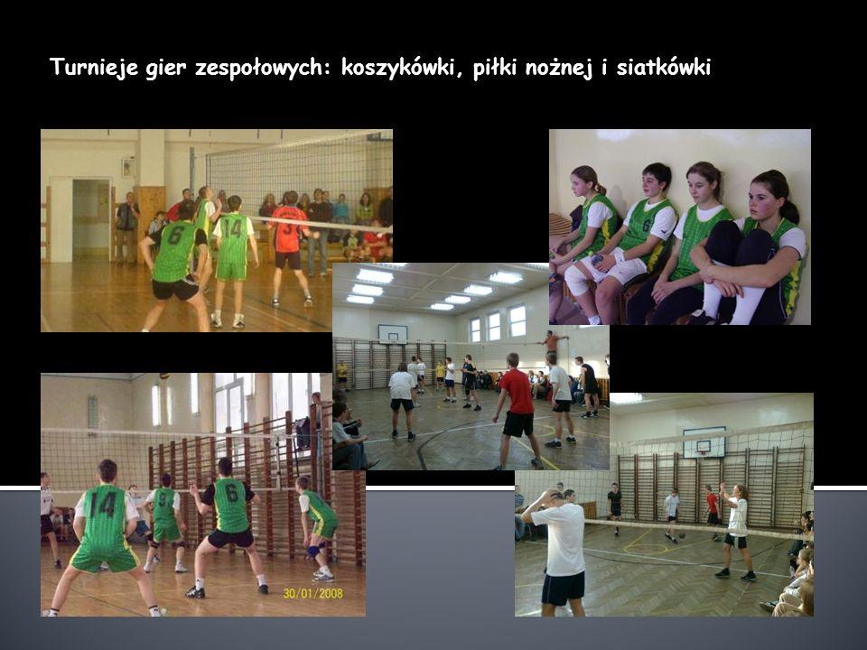 Turnieje gier zespołowych: koszykówki, piłki nożnej i siatkówki
