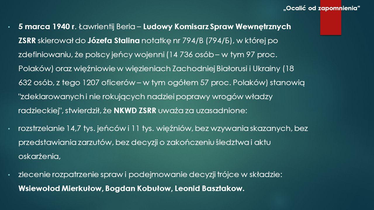 """Wniosek Ławrentija Berii z akceptacją członków Politbiura WKP(b) – decyzja katyńska z 5 marca 1940 """"Ocalić od zapomnienia Źródło http://www.katyn-pamietam.pl/inne/25.htmlhttp://www.katyn-pamietam.pl/inne/25.html"""