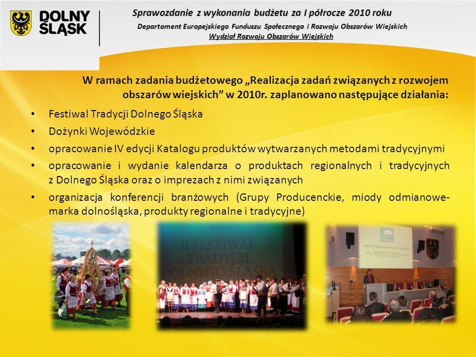 Festiwal Tradycji Dolnego Śląska Dożynki Wojewódzkie opracowanie IV edycji Katalogu produktów wytwarzanych metodami tradycyjnymi opracowanie i wydanie