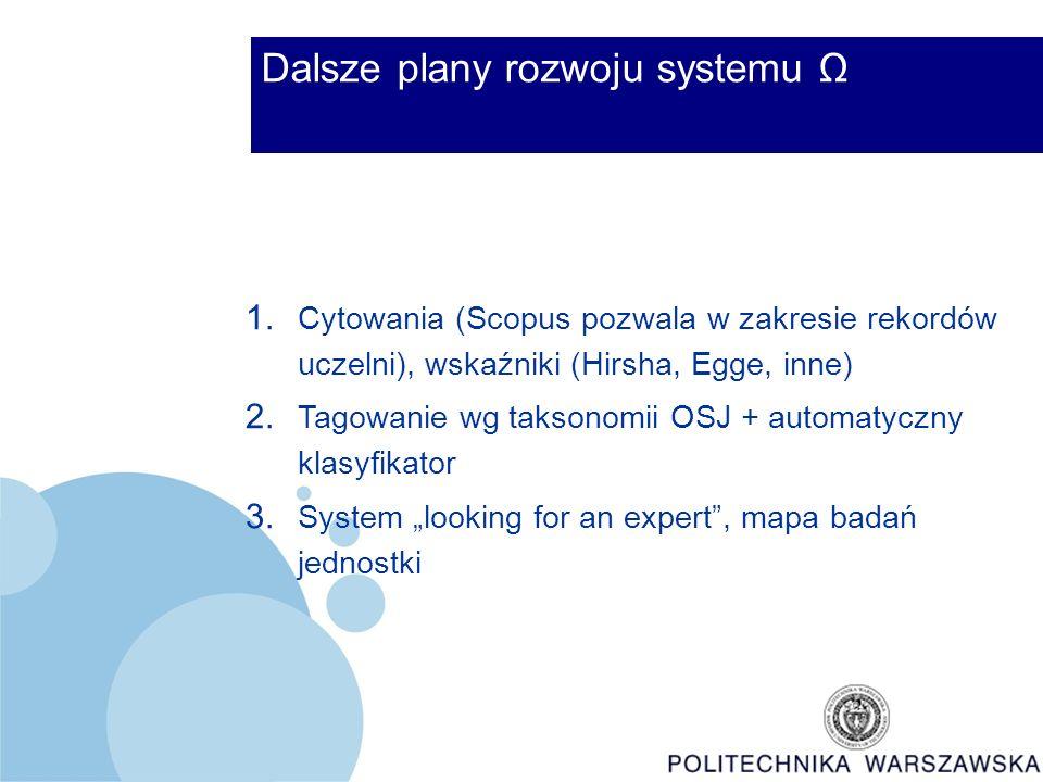 Dalsze plany rozwoju systemu Ω 1.