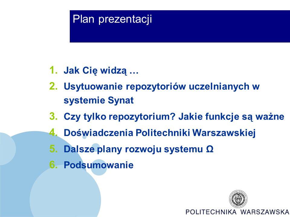 Plan prezentacji 1. Jak Cię widzą … 2. Usytuowanie repozytoriów uczelnianych w systemie Synat 3.