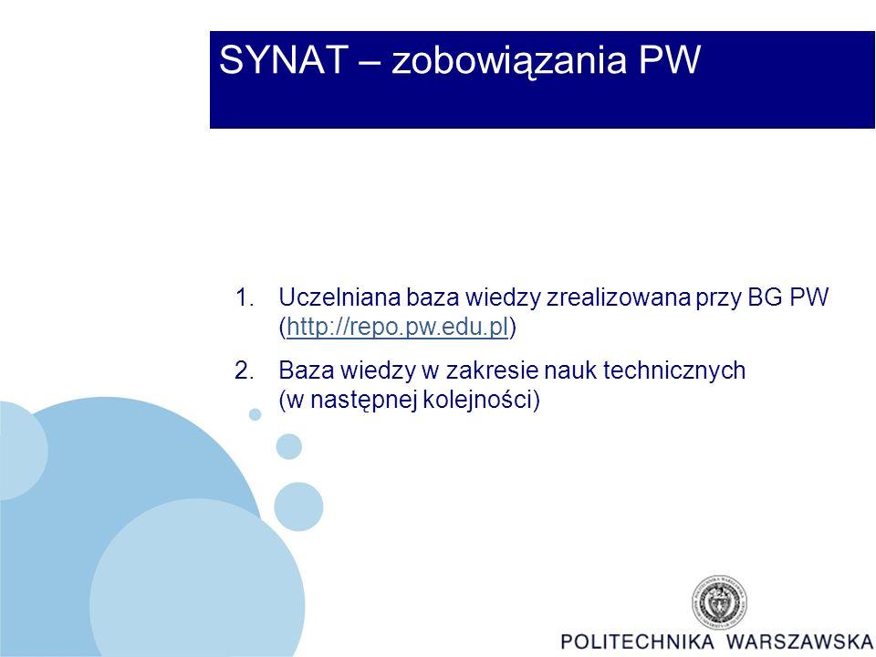 SYNAT – zobowiązania PW 1.Uczelniana baza wiedzy zrealizowana przy BG PW (http://repo.pw.edu.pl)http://repo.pw.edu.pl 2.Baza wiedzy w zakresie nauk technicznych (w następnej kolejności)