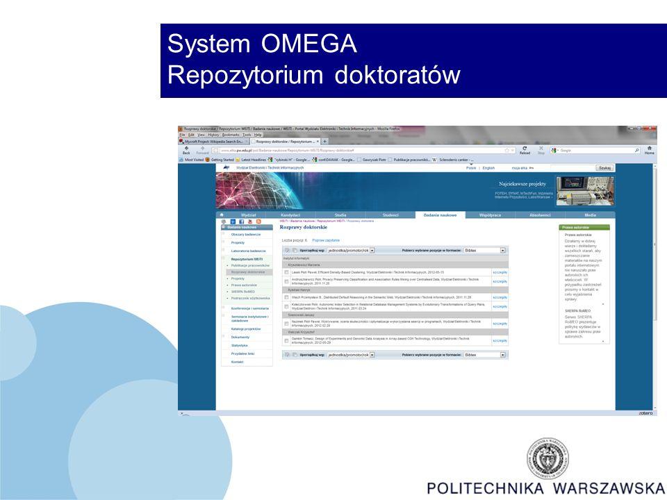 System OMEGA Repozytorium doktoratów