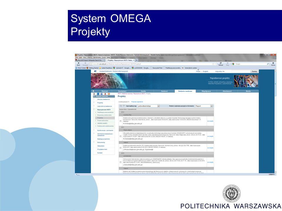 System OMEGA Projekty